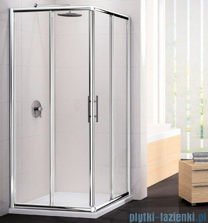 Novellini Ścianka Kabiny prysznicowej LUNES 93 cm szkło przejrzyste profil chrom LUNESA93L-1K