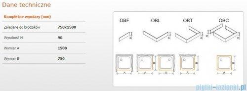 Sanplast Obudowa brodzika OBL 75x150x9 cm 625-400-1280-01-000