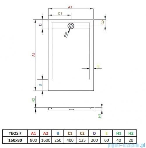 Radaway Teos F brodzik 160x80cm antracyt HTF16080-64