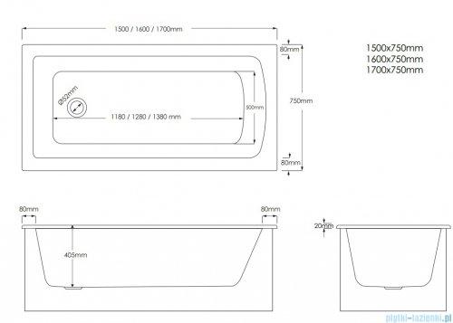 Schedpol Schedline Fair Set wanna prostokątna z nośnikiem styropianowym 150x75 cm 3WSP.F1P-17075
