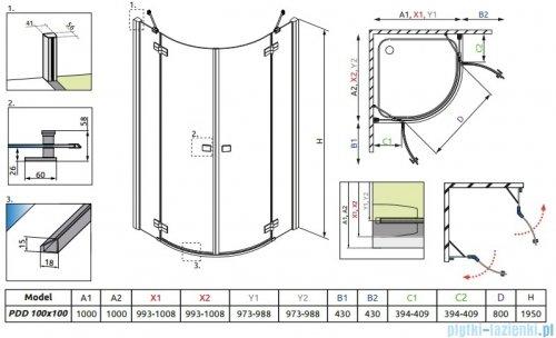 Radaway Almatea PDD GOLD kabina półokrągła 100x100 szkło brązowe 30522-09-08N