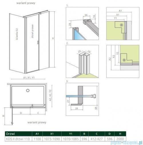 Radaway Nes Kds II drzwi 110cm prawe szkło przejrzyste 10033110-01-01R