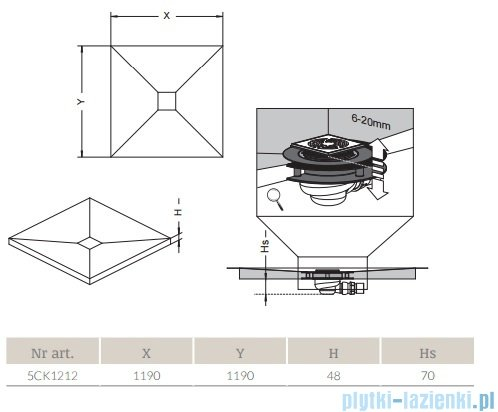 Radaway kwadratowy brodzik podpłytkowy z kratką odpływową 119x119cm 5CK1212,5K01,5SK1