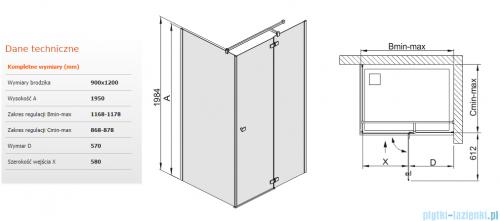Sanplast kabina narożna prostokątna KNDJ2/FREE-90x120 90x120x195 cm przejrzyste 600-260-0670-42-401