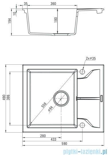 Deante Andante zlewozmywak 1-komorowy z krótkim ociekaczem piaskowy ZQN 711A
