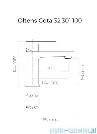 Oltens Gota bateria umywalkowa czarny mat 32201300