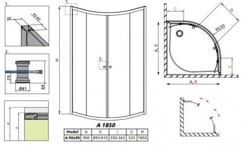 Radaway Classic A Kabina prysznicowa półokrągła z drzwiami przesuwnymi 90x90x185 szkło grafitowe profile białe 30000-04-05