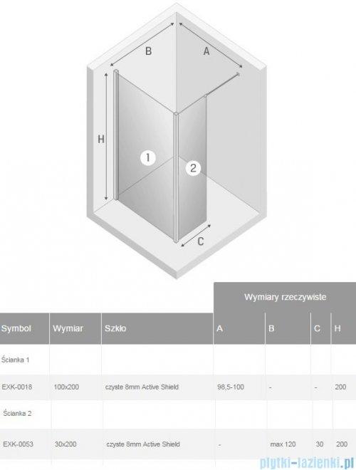 New Trendy New Modus kabina Walk-In 100x30x200 cm przejrzyste EXK-0018/EXK-0053