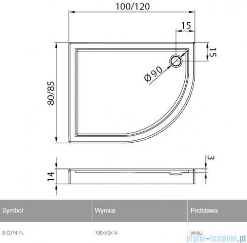 New Trendy New Maxima brodzik asymetryczny 100x80x14cm lewy B-0374/L