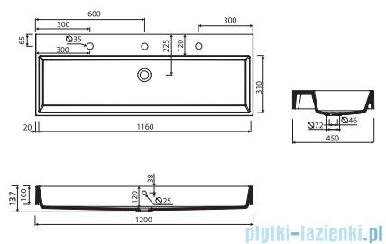 Marmorin Teo 1200 umywalka wpuszczana w blat 120x45 z 2 otworami na baterie biała 641120020012
