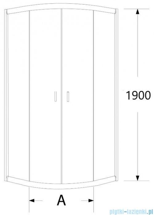 Sea Horse Stylio kabina natryskowa półokrągła 80x80x190 cm grafit BK501G+