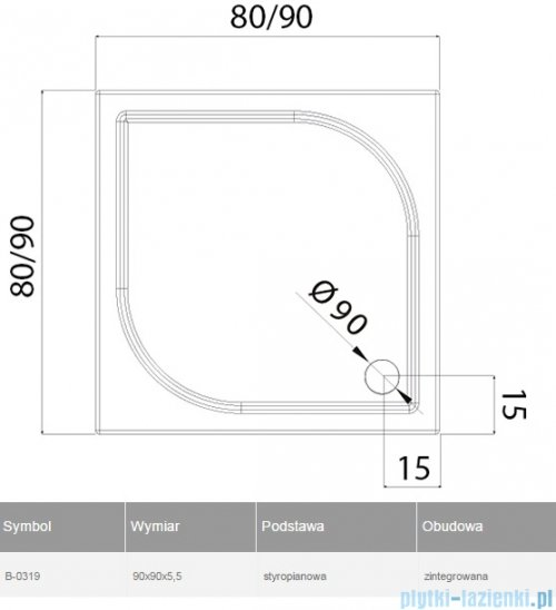 New Trendy Ideo brodzik kwadratowy na podstawie styropianowej 90x90x5cm B-0319