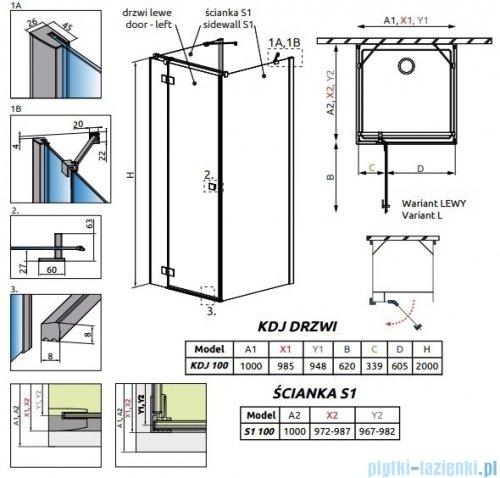 Radaway Essenza New Kdj+S kabina 100x100x100cm lewa szkło przejrzyste 385022-01-01L/384052-01-01/384052-01-01