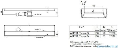 Wiper Odpływ liniowy Classic Ponente 120cm bez kołnierza mat P1200MCS100