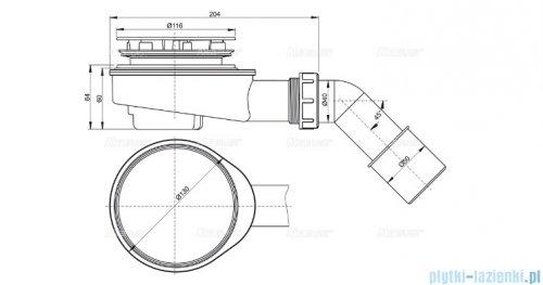 Alcaplast zestaw odpływowy brodzikowy Ø90, chrom A491CR