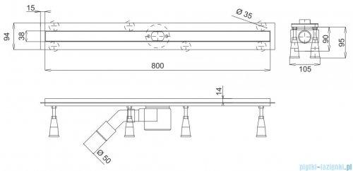 Omnires odpływ liniowy do zabudowania płytkami 80cm inox LINE80
