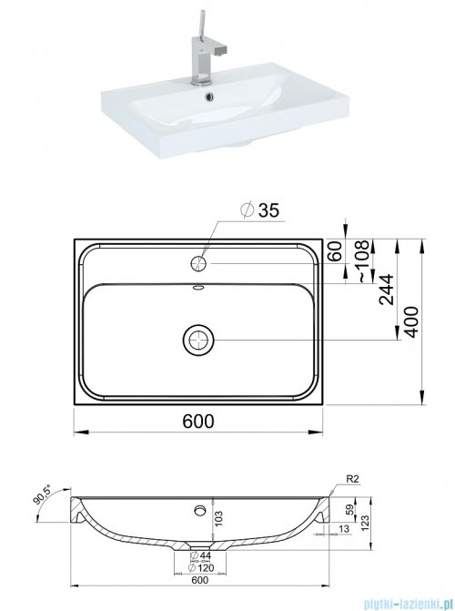 Elita Kwadro Plus szafka z umywalką 60x26x40cm anthracite 166788/22052008N