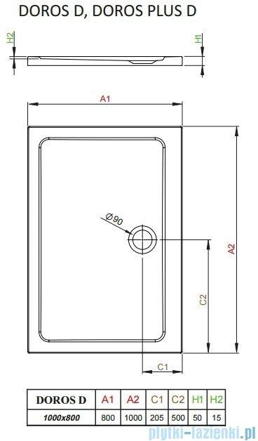 Radaway Arta Kdj I kabina 100x80cm lewa szkło przejrzyste + brodzik Doros D + syfon