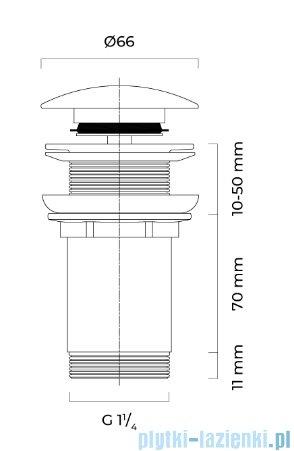 Oltens Rovde korek do umywalki klik klak okrągły bez przelewu G1 1/4 biały 05200000