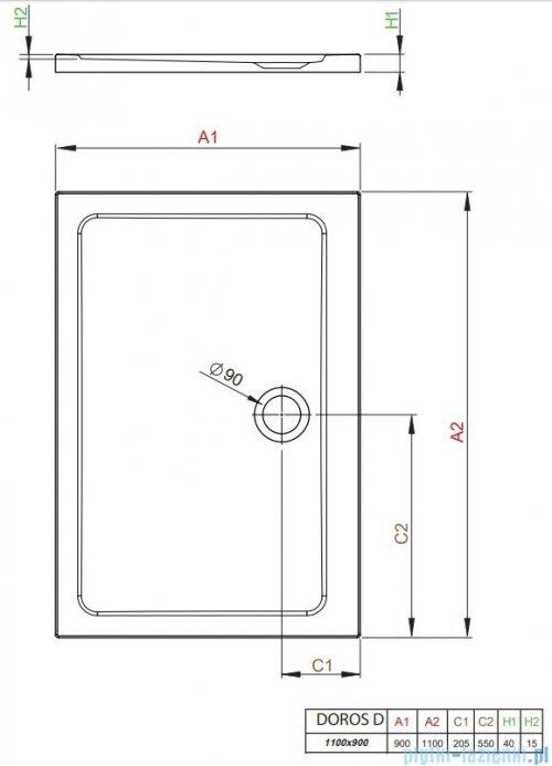 Radaway Doros Plus D Brodzik prostokątny 110x90x4cm SDRPD1190-01