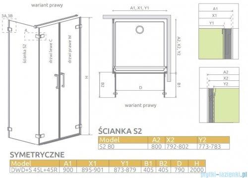 Radaway Arta Dwd+s kabina 90x80cm prawa szkło przejrzyste 386181-03-01R/386056-03-01L/386110-03-01