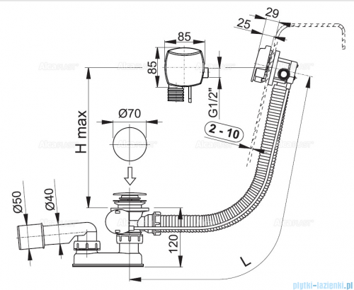 Alcaplast  syfon wannowy z funkcją napełniania przez przelew chrom A564KM1-100