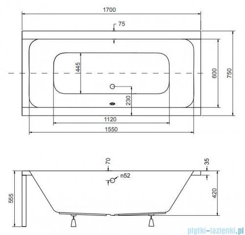Besco Quadro 170x75cm wanna prostokątna + obudowa + syfon #WAQ-170-PK/#OAQ-170-PK/19975