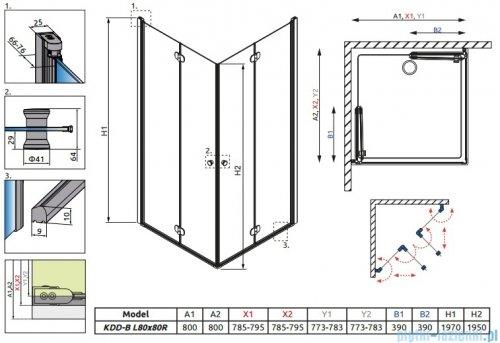Radaway Eos KDD-B kabina prysznicowa 80x80cm przejrzyste bez listwy progowej 37313-01-01NB