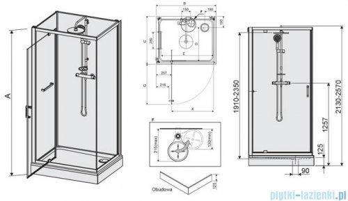 Sanplast Classic II kabina czterościenna kompletna KCDJ/CLIIa-90x120-S 90x120x210 cm przejrzyste 602-011-0271-38-4S1