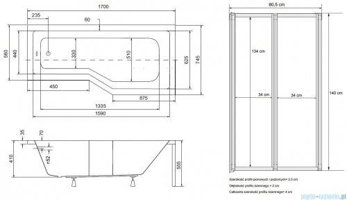Besco Integra 170x75cm Wanna asymetryczna Prawa + parawan 2-skrzydłowy #WAI-170-PP2