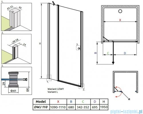 Radaway Eos II DWJ Drzwi prysznicowe 110x195 lewe szkło przejrzyste 3799443-01L