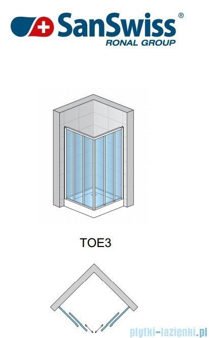 SanSwiss Top-Line TOE3 Wejście narożne 3-częściowe 75cm profil srebrny Prawe TOE3D07500107