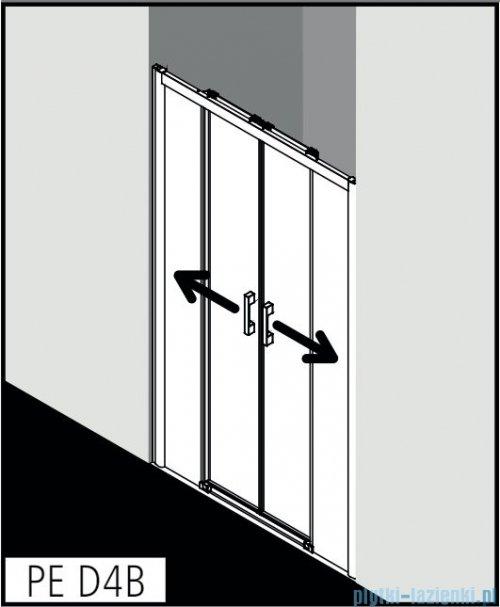 Kermi Pega drzwi przesuwne 2-skrzydłowe z dwoma polami stałymi 140 cm przejrzyste PED4B14020VPK