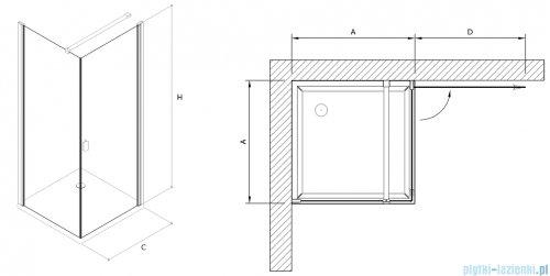 Clusi Temida kabina kwadratowa 90x90x200 cm przejrzyste prawe 3329TEM90P