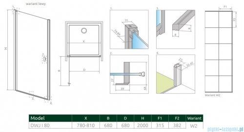 Radaway Nes Black Dwj I Factory Drzwi wnękowe 80cm lewe rysunek techniczny