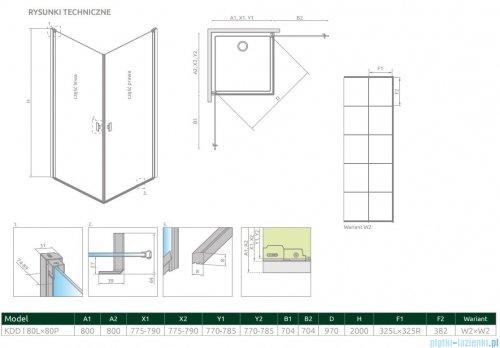 Radaway Nes Black Kdd I Factory kabina 80x80cm rysunek techniczny