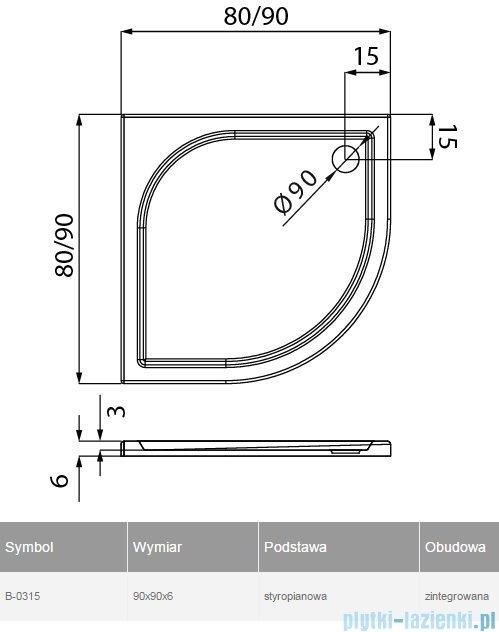 New Trendy Ideo brodzik półokrągły na podstawie styropianowej 90x90x5cm B-0315