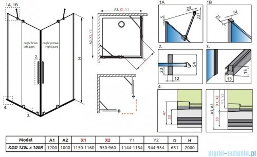 Radaway Furo Black KDD kabina 120x100cm szkło przejrzyste 10105120-54-01L/10105100-54-01R