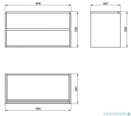 Cersanit Crea szafka wisząca 100x45x53 cm szary -019