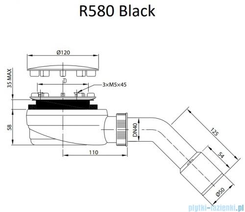Radaway syfon brodzikowy czarny 90mm R580B