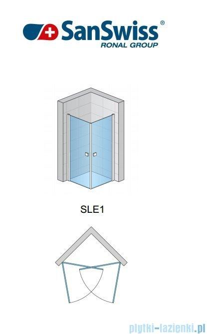 SanSwiss Swing-Line Sle1 Wejście narożne jednoczęściowe 90cm profil srebrny szkło przejrzyste Prawe SLE1D09000107