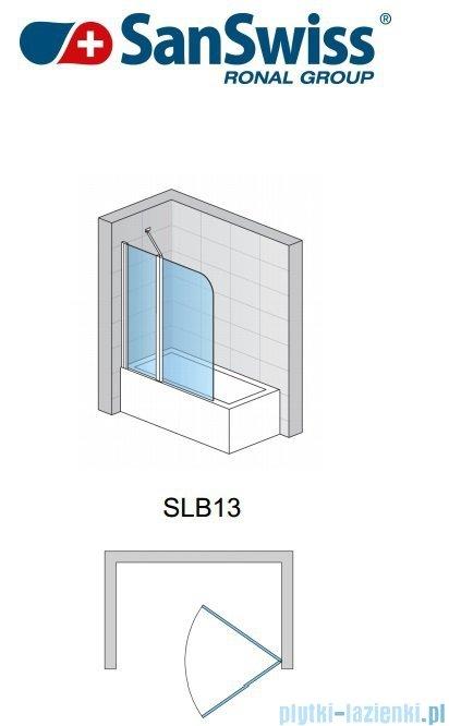 SanSwiss Swing Line SLB13 Parawan 2-częściowy 100cm profil biały Lewy SLB13G1000407