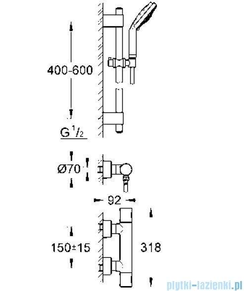 Grohe Grohtherm 3000 Cosmopolitan bateria prysznicowa z termostatem z zestawem prysznicowym DN 15 34275000