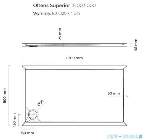 Oltens Superior brodzik prostokątny 120x80 cm 15003000