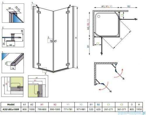 Radaway Kabina prysznicowa Almatea Kdd 80x100 szkło grafitowe + brodzik Doros D + syfon 32181-01-05N