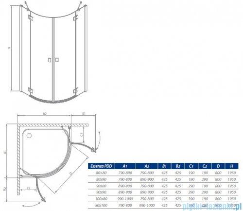 Radaway Kabina prysznicowa Essenza PDD E 90x80 szkło brązowe 32532-01-08N