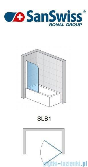 SanSwiss Swing Line SLB1 Parawan 1-częściowy 75cm profil biały Lewy SLB1G07500407