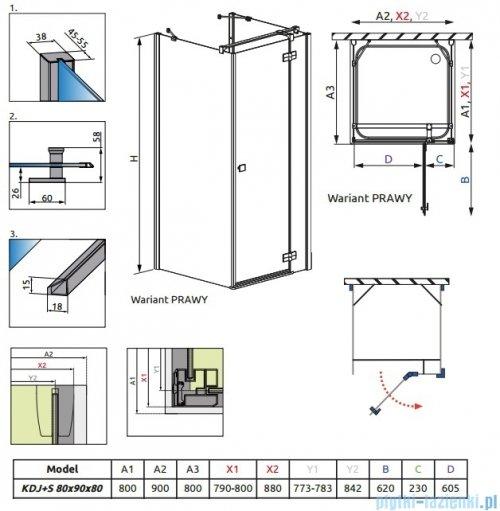 Radaway Kabina prysznicowa Almatea KDJ+S 80x90x80 prawa szkło przejrzyste + brodzik Doros D + syfon 31556-01-01R1/31556-01-01R2