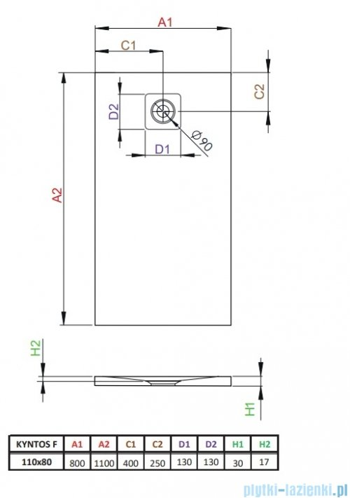 Radaway Kyntos F brodzik 110x80cm cemento HKF11080-74