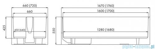 Schedpol nośnik monolityczny do wanny prostokątnej 160x75cm 1.007